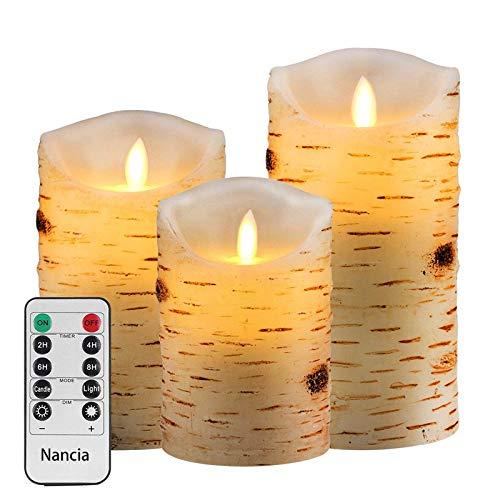 Nancia Lot de 3 bougies LED sans flamme - En cire véritable - Avec télécommande à 10 touches - Avec minuterie de 24 heures