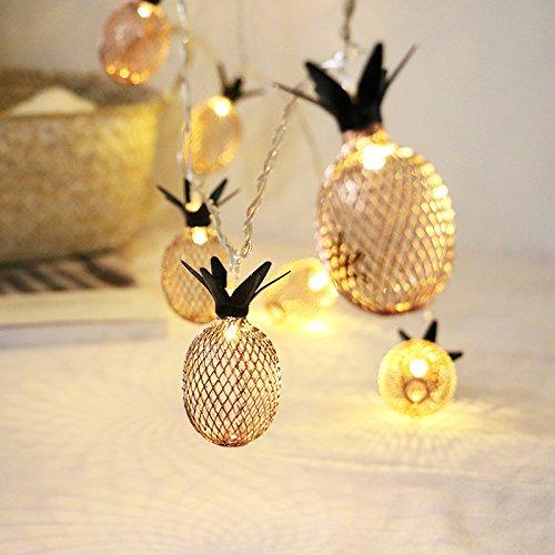 HCCX LED Piña luz String batería alimentada caliente blanca hueca hada luz adecuada para decorar la habitación de boda de la familia de la fiesta al aire libre 6,5ft T/20 LED