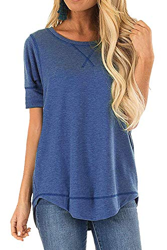 JomeDesign Summer Tops for Women Short Sleeve Side Split Casual Loose Tunic Top Blue Large