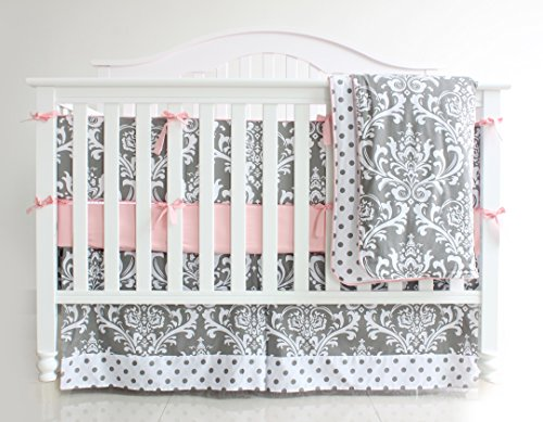 3 Pieces Set Grey Purple Floral Baby Crib Nursery Bedding Set (Pink)