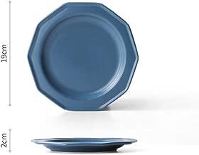 jialinriyongbaihuodian Placa de Matorral de cerámica para el hogar Plato Occidental Europeo Personalidad Creativa Placa de Filete Mate Angular Azul Pavo Real 19x2cm