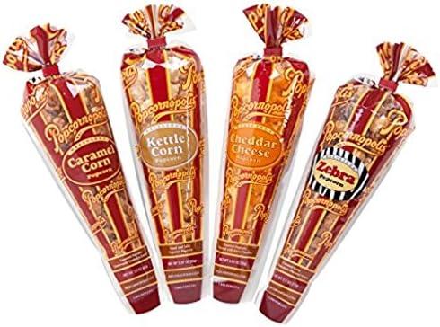 Popcornopolis Best Flavors Variety Pack Cheddar Cheese Caramel Corn Zebra Kettle Corn 8 Mini product image