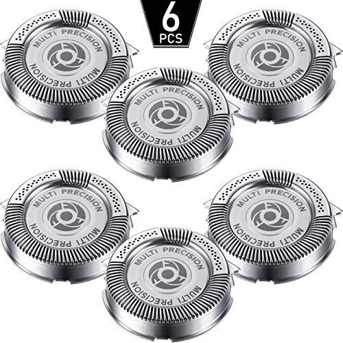 6 Pièces SH50/52 Têtes de Rechange de Rasoir Compatibles avec Norelco Série 5000 (S5xxx), AquaTouch (S5xxx), AquaTouch (AT8xx, AT7xx) et PowerTouch (PT8xx, PT7xx), 9 Lames