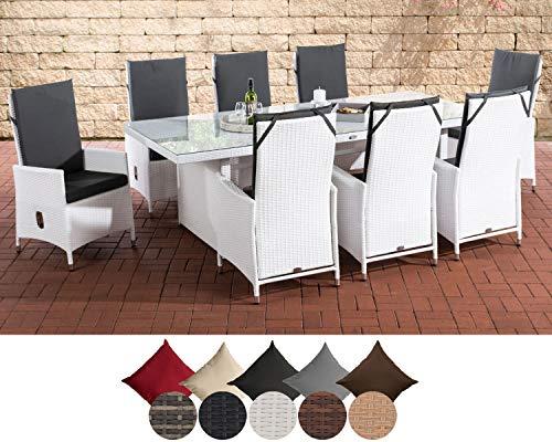 CLP Polyrattan Sitzgruppe Sevilla XL I Gartengruppe Flachrattan I Essgruppe Mit 8 Verstellbaren Stühlen I Glastisch B 240 x T 102 x H 75 cm, Farbe:weiß, Polsterfarbe:Polsterfarbe Anthrazit