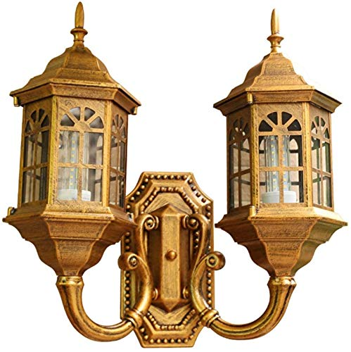 Lámpara de pared Retro Aplique, Antigua lámpara de pared al aire libre Vintage pared rústica lámpara al aire libre impermeable 2 llama bronce aluminio cristal sombra lámpara de pared lámpara fachadas