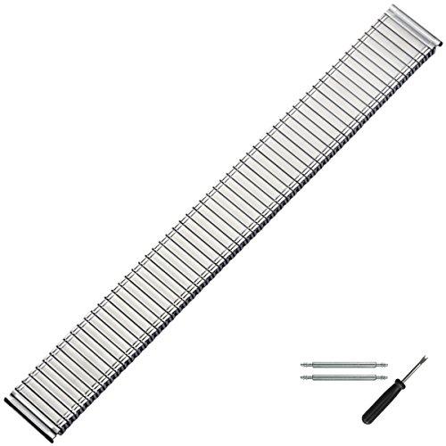 MARBURGER Uhrenarmband 18mm Edelstahl Silber XL - Werkzeug Montage Set 86601300020