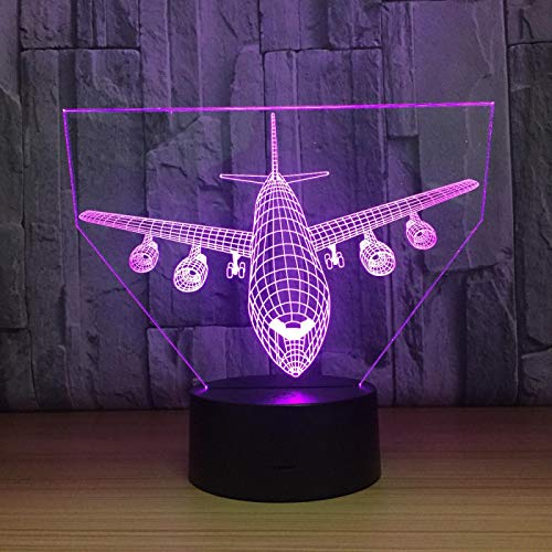 3D Airplane Model Night Light Led Optical Illusion Lamp 16 Color Change Table Desk Lamp for Living Room Kids Bedroom Home Decoration Birthday Christmas Holiday Gift Toys with Remote
