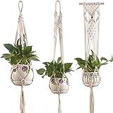 Macetas Colgantes 3 Pack de plantas de macarrones Macrame Plant Pot Holder Cuerda de algodón natural maceta cesta cesta decoración del hogar para interiores al aire libre Cestas colgantes Jardineras