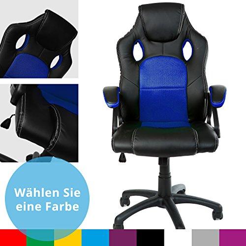 Gamer Stuhl Gaming Schreibtischstuhl Chefsessel Bürostuhl Ergonomisch, Blau, 9 Farbvarianten, gepolsterte Armlehnen, Wippmechanik, belastbar bis 150 kg, Lift TÜV geprüft, Panorama24