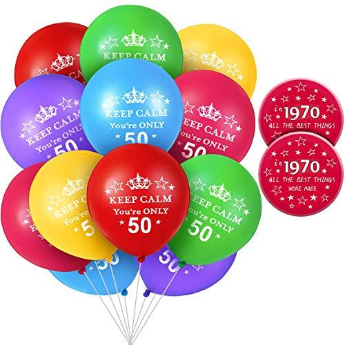 Juego de 26 Decoraciones de Cumpleaños, Incluye 24 Globos de Cumpleaños de 50 Años Keep Calm YouRe Only 50 Globos y 2 Insignia de Cumpleaños de 50 Años 75mm 1970 Botón de Pin