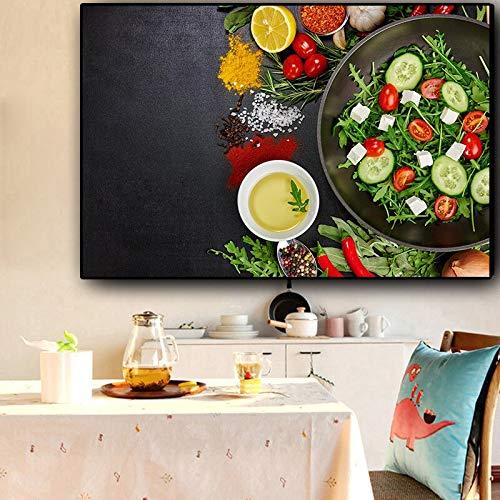 ganlanshu Rahmenlose Malerei Getreide und Gewürze Pfanne Küche Gemüse Obst Poster und Drucke Leinwand Malerei Wohnzimmer WandkunstCGQ7161 40X60cm