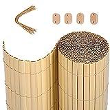 SONGMICS Cannisse en PVC, 5 x 0,8 m (L x l), Gris, Store de Balcon, Paravent extérieur avec Nervures de Renforcement, PVC GPF085G
