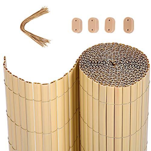 SONGMICS PVC Sichtschutzmatte, 5 x 0,9 m (L x B), Balkonverkleidung, Sichtschutzzaun, Balkonumrandung, Blende mit verstärkten Lamellen, Garten, Balkon, Terrasse, Outdoor, Bambus GPF095M
