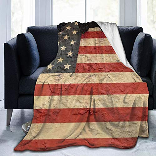 Xukmefat American Flag Ao Flannel Throw Blanket Bed Blanket as Bedspread/Coverlet/Bed Cover Soft, Lightweight, Warm and Cozy