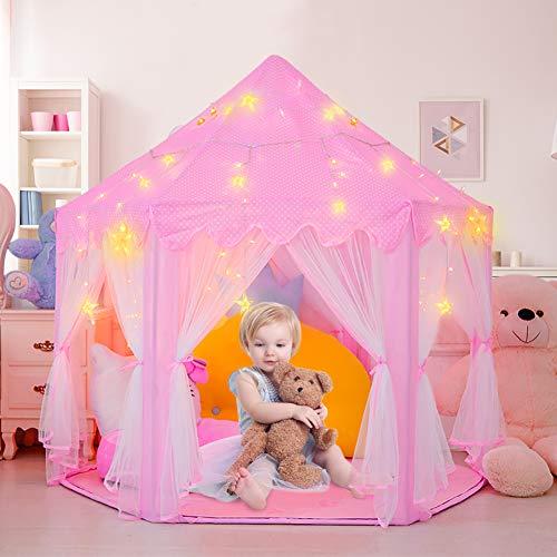 Kinderspielzelt Mädchen Prinzessin Zelt Innen mit Sternen & Draussen Castle Spielzelt Kinder Schloss Zelt mit 2 Modes Sternenlicht - Weihnachten, Geburtstag Geschenk für Kinder ( Rosa )