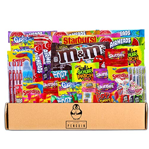 Bite Sized Candy Care Package - (50 count) A Sampler of Skittles, Sour Patch Kids, Starburst, M&M's, Twizzlers, Airheads, and More! Great for Movie Night, Sleepovers, and Goodie Bags! by Premium Penguin