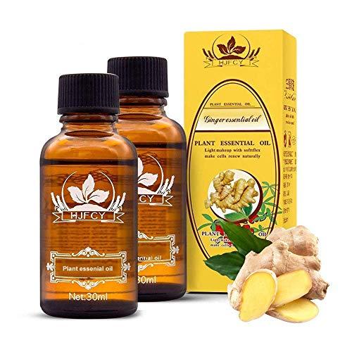 nanning fanglianguan Ingweröl, Lymphdrainage Ingweröl Massageöl Pflanzenmassage Ätherisches Öl 100% Pure Natural Prime (mit englischen Anweisungen) (Ginger, 2PCS)