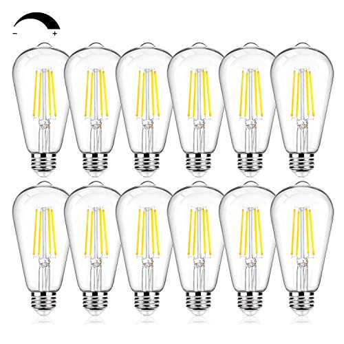 12Packs Vintage LED Edison Bulbs, 60W Equivalent 7W, 800Lumens, Dimmable ST64 Antique LED Filament, Daylight White 5000K, E26 Medium Base Light Bulbs High Brightness Clear Glass for Bedroom Office