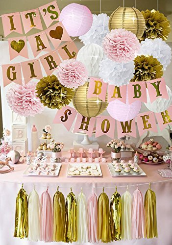 12 Pcs Baby Shower Decorations & White Tablecloth, Its A Girl & Baby Shower  Banners, with Colorful Pompoms, Paper Lanterns, Balloons, Honeycomb Balls