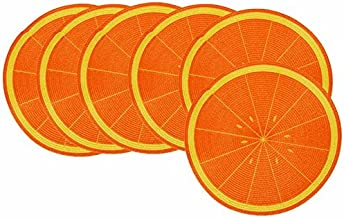 GinsonWare Set 6, 15 Inches PE Round Woven Place mats W/Fruit Designs. (Orange)