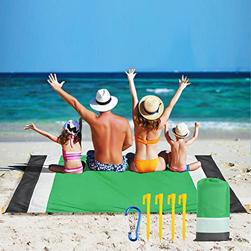 Hianjoo Alfombra de Playa, Manta de Picnic 210 x 200cm Esterilla Playa Impermeable a Prueba de Arena con 4 Clavos Fijos y Bolsa, Acampar en la Playa Picnic Jardín Parque Hierba, Verde Blanco Gris