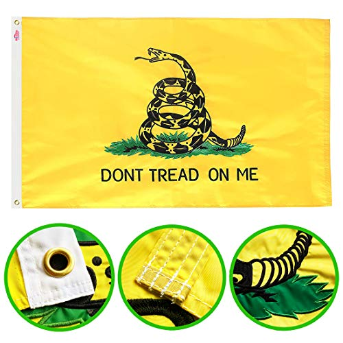 Winbee Embroidered Gadsden Don't Tread On Me Flag 3x5 Ft with Long Lasting Nylon, Double Sewn Stripes and Brass Grommets, UV Protected, Best American Tea Party Gadsden Flag Outdoor/Indoor Display