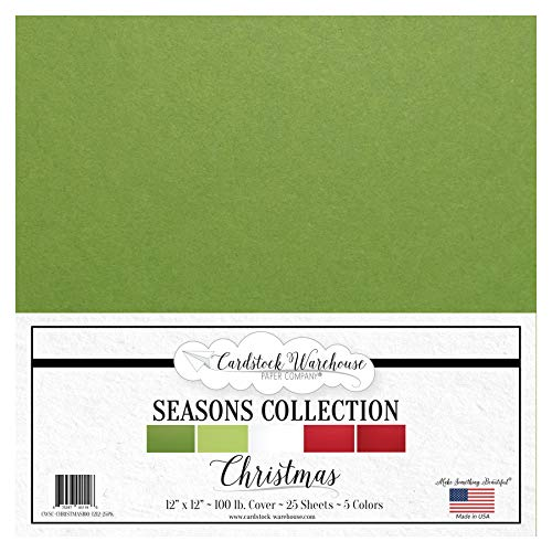 Christmas Seasons Collection - Red, Green and White Multi-Pack Assortment - 12 x 12 inch 100 lb Cover Cardstock - 25 Sheets from Cardstock Warehouse