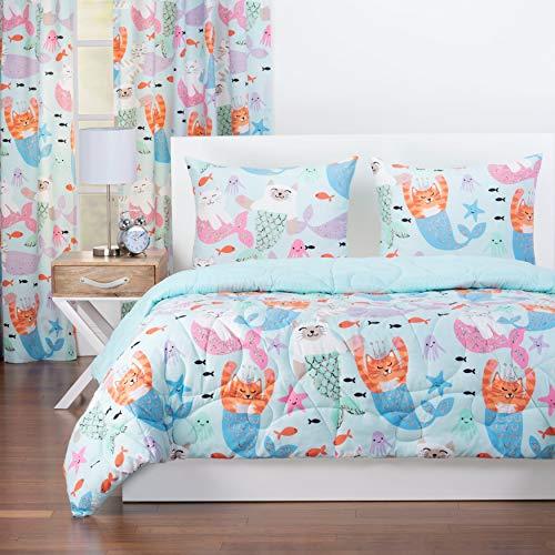 Crayola Purrmaids Reversible Comforter Set in Blue Full - Queen 3 Piece