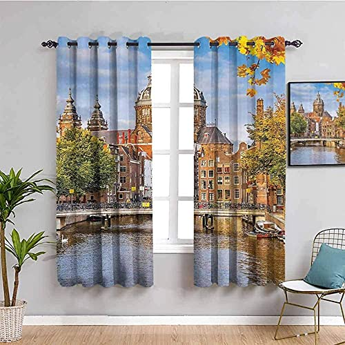 MENGBB Blackout Curtain for Kids Girls Microfiber - Architecture oil painting landscape retro - Thermal Insulated 95% Blackout - 110x102 inch Kitchen Bedroom Living Room Window Eyelet Curtains