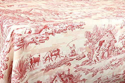 Tischdecke Toile de Jouy, rot 100% Baumwolle in verschiedene Größen.