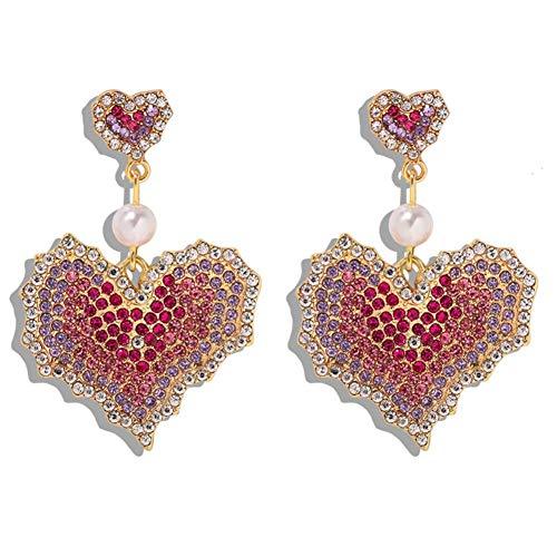 NFRADFM Pendientes de Mujer Pendientes de Oreja Larga Pendientes de borlas Pendientes de Diamantes de imitación Rosados Pendientes de Amor
