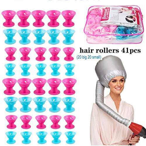 Ensemble de bigoudis en Silicone Bleu et Rose de 41 Rouleaux de Cheveux - Comprenant 20 Grands Rouleaux de Cheveux Magiques et 20 Petits Outils de Sty