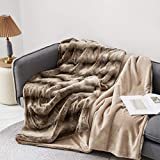 Eikei Luxury Faux Fur Throw Blanket Super Soft Oversized Thick Warm Afghan Reversible to Plush Velvet in Tan Grey Wolf, Cream Mink or Blush Chinchilla, Machine Washable (Tan Chinchilla, 60Wx70L)