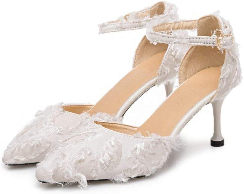 Stiletto Spitze One-Point-Schnalle High Heel Damenschuhe Hollow Feather Sandals Wildleder