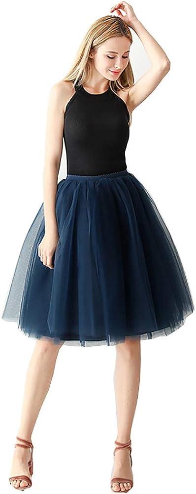 Cibelle Women's A Line Short Knee Length 6 Layer Tutu Tulle Prom Party Skirt
