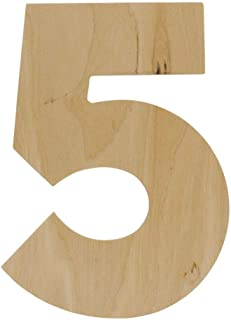 Wooden Number - 5- Unfinished 12 Inch Decorative Craft Monogram for Wedding and Birthday Parties and Home Décor with Tool Free Adhesive Foam Squares for Hanging - by Woodpeckers
