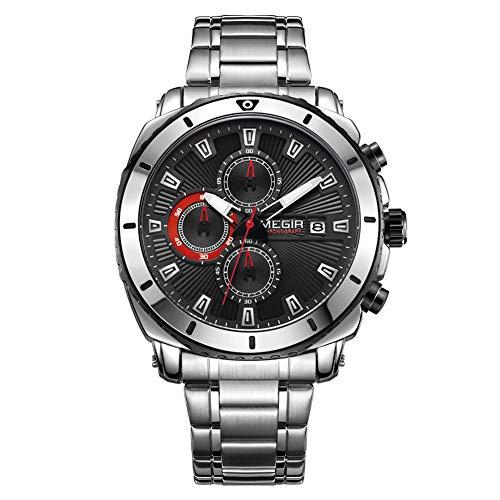 Relojes para Hombre Moda Acero Inoxidable Deportivo Analógico Reloj Cronógrafo Impermeable Negocios Reloj de Pulsera