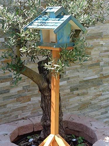 vogelhaus mit ständer, BEL-X-VOVIL4-MS-blau002 Robustes, stabiles PREMIUM Vogelhaus KOMPLETT mit Ständer wetterfest lasiert, FUTTERHAUS für Vögel, WINTERFEST - MIT FUTTERSCHACHT Futtervorrat, Vogelfutter-Station Farbe blau SKY BLUE himmelblau hellblau mittelblau dunkelblau/natur, MIT TIEFEM WETTERSCHUTZ-DACH für trockenes Futter, Schreinerarbeit aus Vollholz