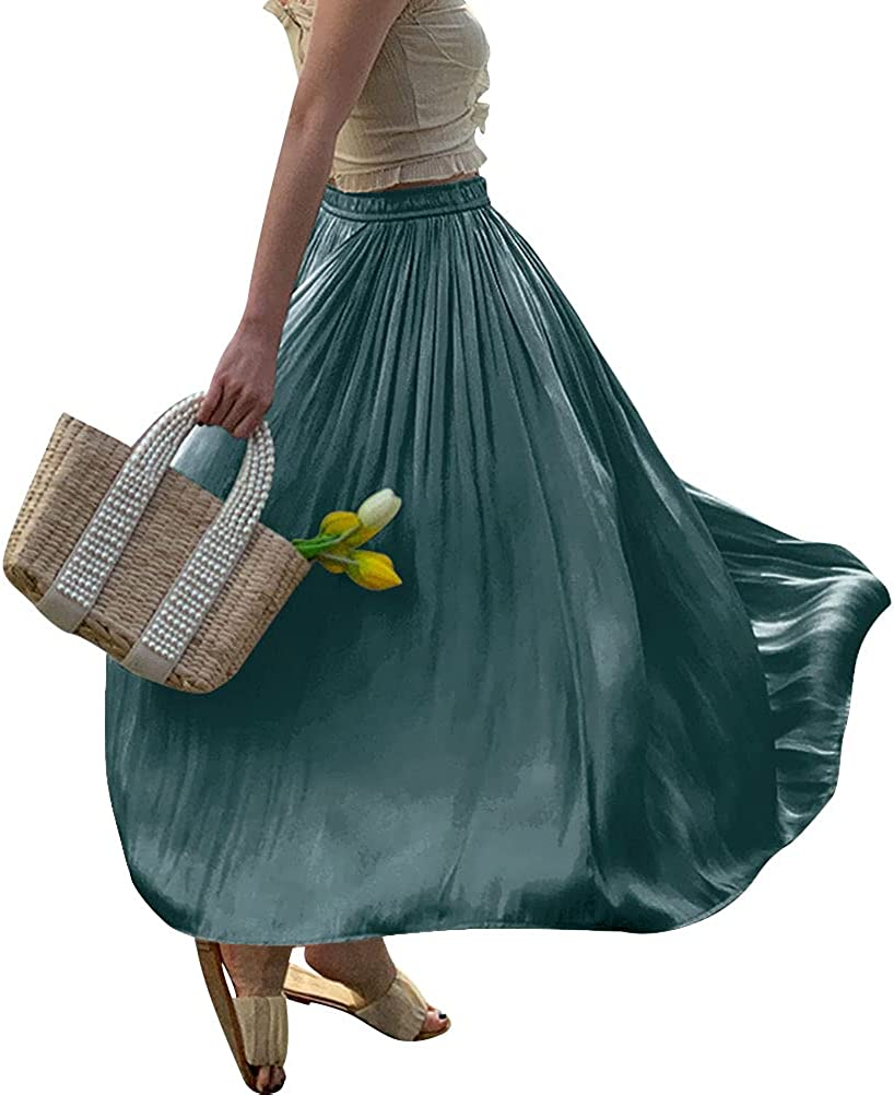 RHSWAUD Women Solid Color Skirt Boho Elastic Waist Long Maxi Skirt Pleated A-Line Skirt