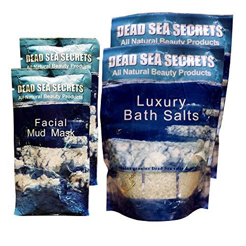 Premier Dead Sea Mud Mask and Dead Sea Salt from Israel, Authentic Organic DEAD SEA SECRETS 2 Mud Masks Plus 2 Bath Salts Packs, Relaxation Kit to Detox Exfoliate, Anti Acne, Eczema, Psoriasis
