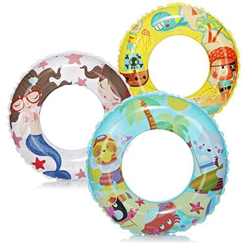 com-four 3X Neumáticos de natación - Anillo de natación de Colores - Neumáticos de natación para niños con Diferentes Motivos [la selección varía] (03 Piezas - Ø 61cm Isla/Pirata/Sirena)