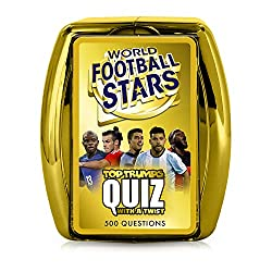 Quizzical World Football Stars fun with a Top Trumps Twist Entertaining educational card game loved for bringing your favourite footballers to life 500 puzzling and captivating questions that will test your knowledge and memory Easy-to-carry plastic ...