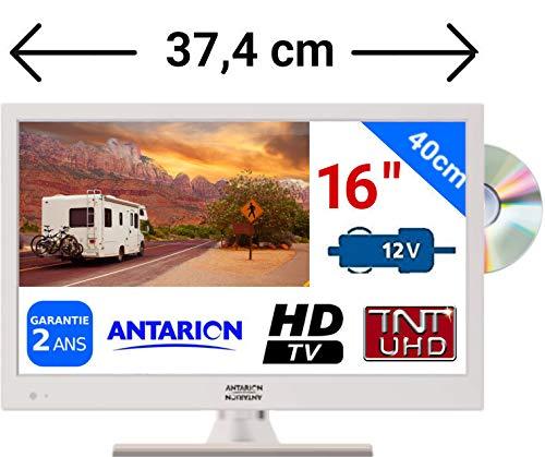 Televisión TV HD LED + DVD 39,6cm blanca 220V /12V /24V autocaravana