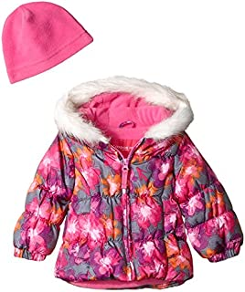 London Fog Baby Girls Winter Coat with Scarf & Hat