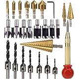 26 brocas para avellanar, incluye 8 brocas para herramientas de corte de madera, 7 brocas de tres puntas, 6 brocas para avellanar, 3 brocas de cono escalonado para puertas de madera y ventanas
