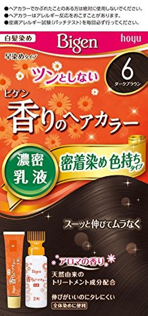 役割音声体操ビゲン香りのヘアカラー乳液6 (ダークブラウン) 40g+60mL ホーユー