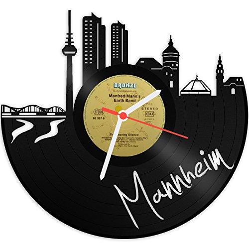 GRAVURZEILE Wanduhr aus Vinyl Schallplattenuhr Skyline Mannheim Upcycling Design Uhr Wand-Deko Vintage-Uhr Wand-Dekoration Retro-Uhr Made in Germany