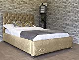 Simple Beds Luxury Crushed Velvet Bed Frame Upholstered Fabric Designer - Single, Small Double, Double, King, Super King (Champagne, Double 4ft6')