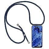 Oihxse - Cordino per telefono compatibile per iPhone 12 Pro Max 6,7 pollici 2020, in silicone trasparente, con catena e cordino in corda anti-urto, colore: Blu