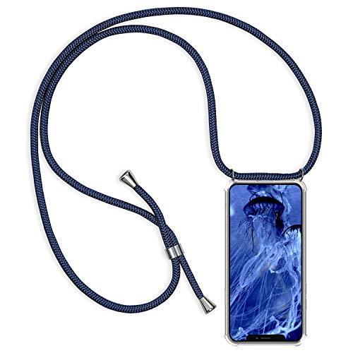 Oihxse Handykette kompatibel mit iPhone 12 Handyhülle Smartphone zum Umhängen Necklace Hülle mit Band Schutzhülle Durchsichtige Silikon Case mit Fallschutz Stoßdämpfer-Navy blau